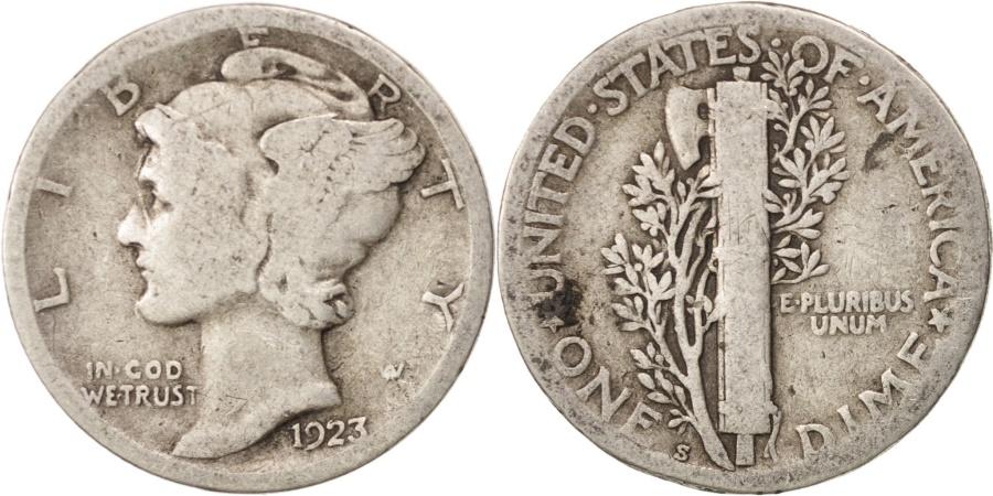 US Coins - United States, Mercury Dime, Dime, 1923, U.S. Mint, San Francisco,