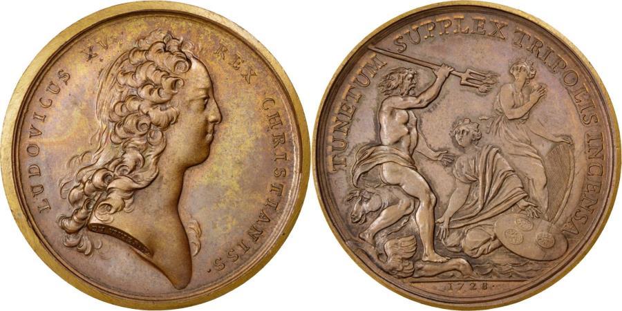 World Coins - France, Medal, Bombardement de Tripoli, Louis XV, 1728, Duvivier, AU(50-53)