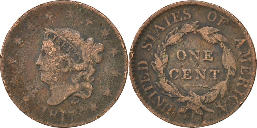 US Coins - UNITED STATES, Coronet Cent, Cent, 1817, U.S. Mint, KM #45, , Copper,..