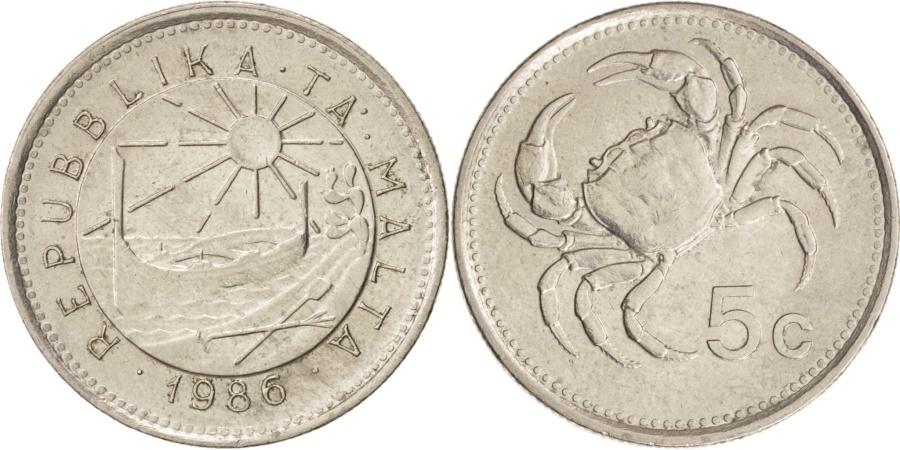 World Coins - Malta, 5 Cents, 1986, , Copper-nickel, KM:77