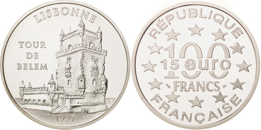 World Coins - France, 100 Francs-15 Euro, 1997, Lisbonne, , Silver, KM:1174