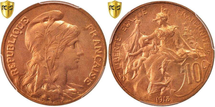 World Coins - Coin, France, Dupuis, 10 Centimes, 1913, Paris, PCGS, MS64RD, , Bronze