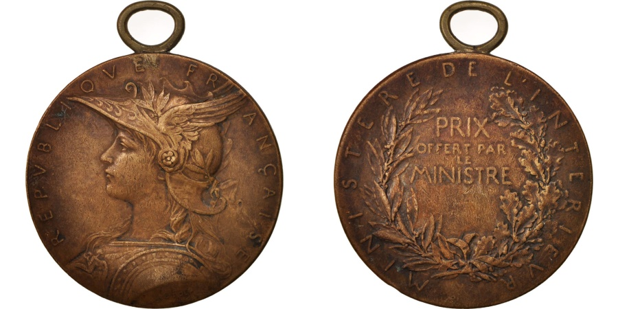World Coins - France, Medal, Offert par le Ministre, Politics, Society, War, Roty,