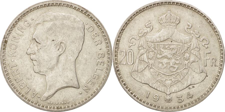World Coins - Belgium, 20 Francs, 20 Frank, 1934, , Silver, KM:104.1