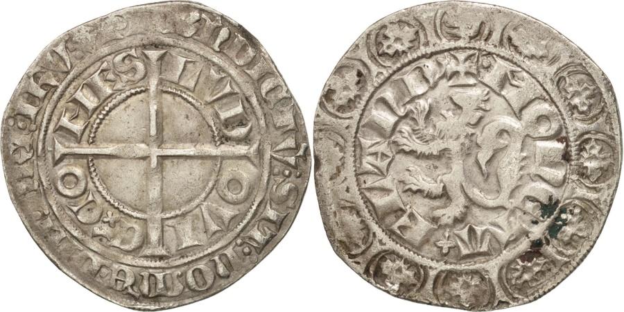 World Coins - France, FLANDERS, Louis II de Male, Gros au lion, , Boudeau:2230