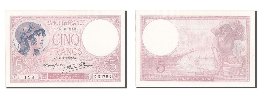 World Coins - France, 5 Francs, 5 F 1917-1940 ''Violet'', 1939, KM #83, 1939-09-21,...