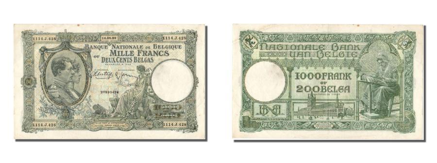World Coins - Belgium, 1000 Francs-200 Belgas, 1939, KM #104, 1939-08-16, AU(55-58), J
