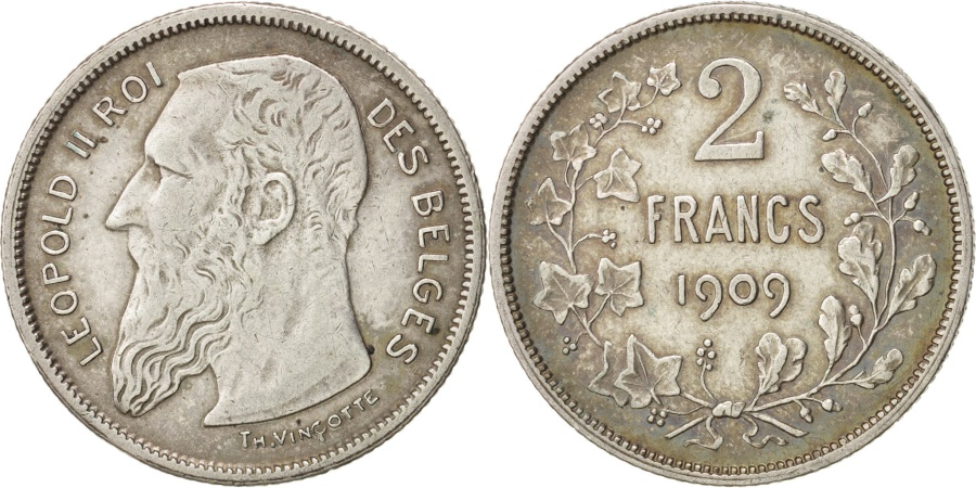 World Coins - Belgium, 2 Francs, 2 Frank, 1909, KM:58.1, , Silver, 27.15