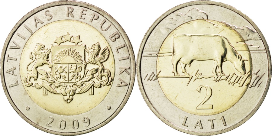 World Coins - LATVIA, 2 Lati, 2009, KM #38, , Bi-Metallic, 26.3, 9.45