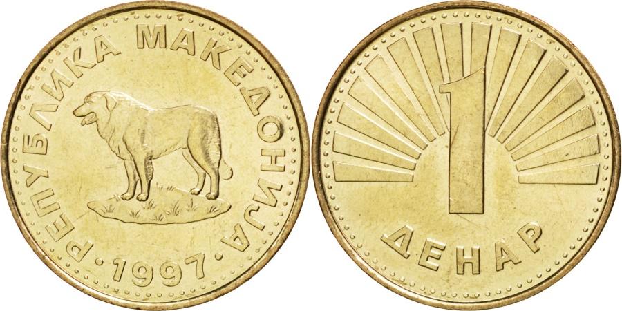 World Coins - MACEDONIA, Denar, 1997, KM #2, , Brass, 23.7, 5.11