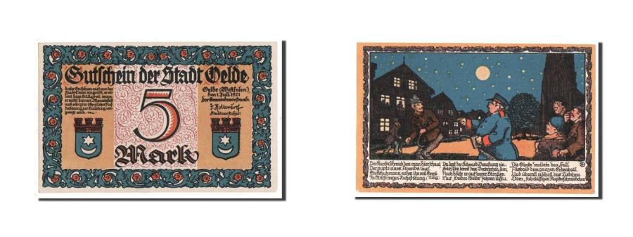 World Coins - Germany, Oelde Stadt, 5 Mark, 1921, UNC(65-70), Mehl #1007.3