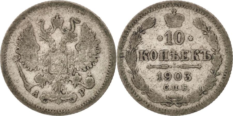World Coins - Russia, Nicholas II, 10 Kopeks, 1903, St. Petersburg, Silver, KM:20a.2