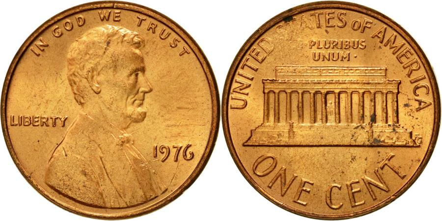US Coins - Coin, United States, Lincoln Cent, Cent, 1976, U.S. Mint, Philadelphia