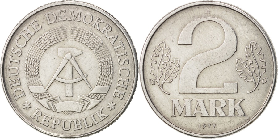 World Coins - GERMAN-DEMOCRATIC REPUBLIC, 2 Mark, 1977, Berlin, , Aluminum, KM:48
