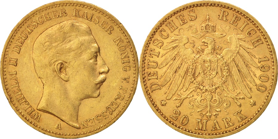 World Coins - German States, PRUSSIA, Wilhelm II, 20 Mark, 1900, Berlin, , Gold