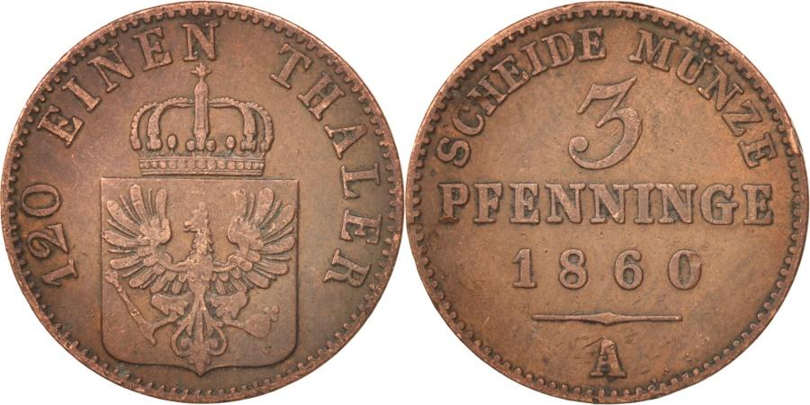 World Coins - German States, PRUSSIA, Friedrich Wilhelm IV, 3 Pfennig, 1860, Berlin,
