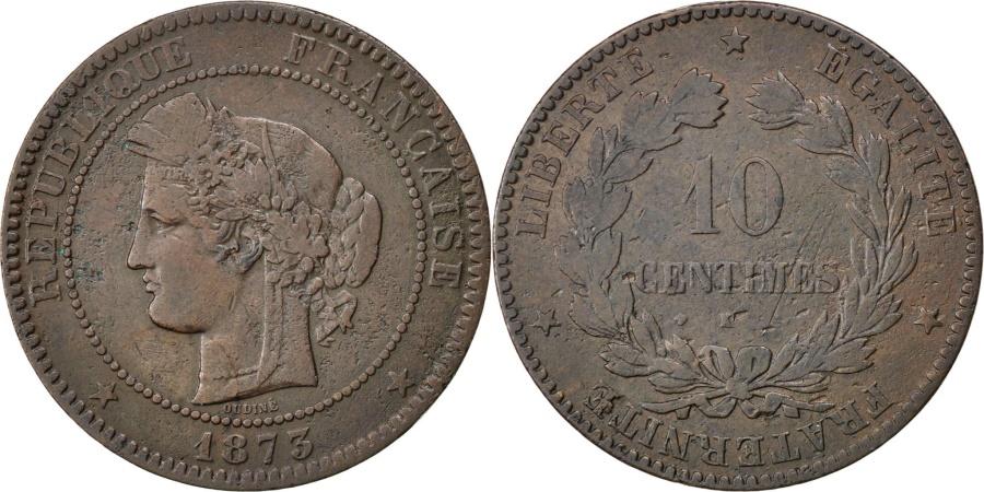 World Coins - FRANCE, Cérès, 10 Centimes, 1873, Bordeaux, KM #815.2, , Bronze, Gadour