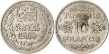 Tunisia, Ahmad Pasha Bey, 10 Francs, 1934, Paris, EF(40-45), Silver, KM:262