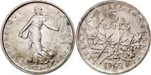 France, Semeuse, 5 Francs, 1965, Paris, MS(63), Sil Tranver, KM:926, Gadoury:770