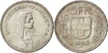 World Coins - SWITZERLAND, 5 Francs, 1965, Bern, KM #40, AU(55-58), Silver, 31.45, 14.98