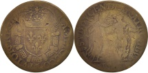 World Coins - France, Token, Royal, Chambre des Comptes, Charles IX, 1570, F(12-15), Brass