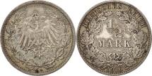 GERMANY - EMPIRE, 1/2 Mark, 1916, Berlin, AU(55-58), Silver, KM:17