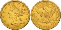 Us Coins - United States, Coronet Head, $5,1908, Philadelphia, AU(55-58),KM 101
