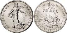 France, Semeuse, 1/2 Franc, 1974, Paris, MS(65-70), Nickel, KM:931.1