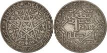 Morocco, Yusuf, Franc, 1921, bi-Bariz, Paris, VF(30-35), Nickel, KM:36.1