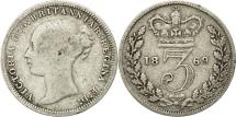 World Coins - Great Britain, Victoria, 3 Pence, 1869, EF(40-45), Silver, KM:730