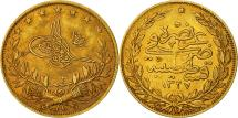 World Coins - Turkey, Muhammad V, 100 Kurush, 1911, Qustantiniyah, EF(40-45), Gold, KM:754