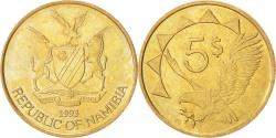 World Coins - NAMIBIA, 5 Dollars, 1993, KM #5, , Brass, 24.9, 6.19