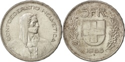 World Coins - SWITZERLAND, 5 Francs, 1965, Bern, KM #40, AU(55-58), Silver, 31.45, 14.98