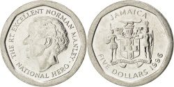 World Coins - JAMAICA, 5 Dollars, 1996, British Royal Mint, KM #163, , Nickel Plated...