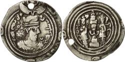 Ancient Coins - Coin, Khusro II, Drachm, 590-628, Ray, EF(40-45), Silver
