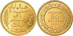 World Coins - Coin, Tunisia, Muhammad al-Hadi Bey, 20 Francs, 1903, Paris, , Gold