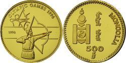 World Coins - Coin, Mongolia, 500 Tugrik, 1996, Valcambi, , Gold, KM:216