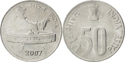 World Coins - INDIA-REPUBLIC, 50 Paise, 2007, KM #69, , Stainless Steel, 22, 3.84