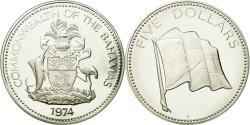 World Coins - Coin, Bahamas, Elizabeth II, 5 Dollars, 1974, Franklin Mint, U.S.A.,
