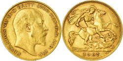 World Coins - Coin, Great Britain, Edward VII, 1/2 Sovereign, 1907, , Gold, KM:804