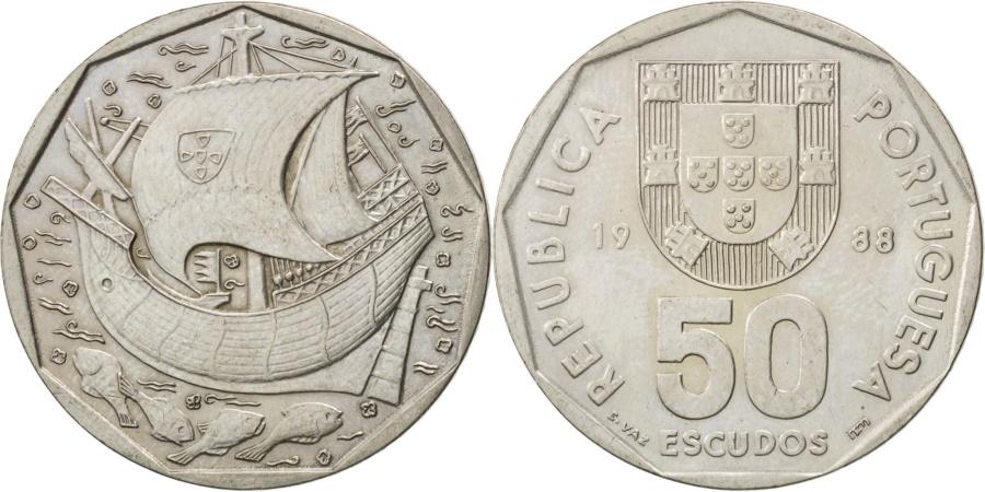 World Coins - PORTUGAL, 50 Escudos, 1988, KM #636, , Copper-Nickel, 31, 9.42