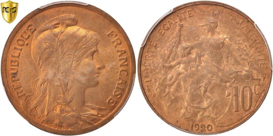 World Coins - France, Dupuis, 10 Centimes, 1920, Paris, PCGS, MS65RB, , Bronze