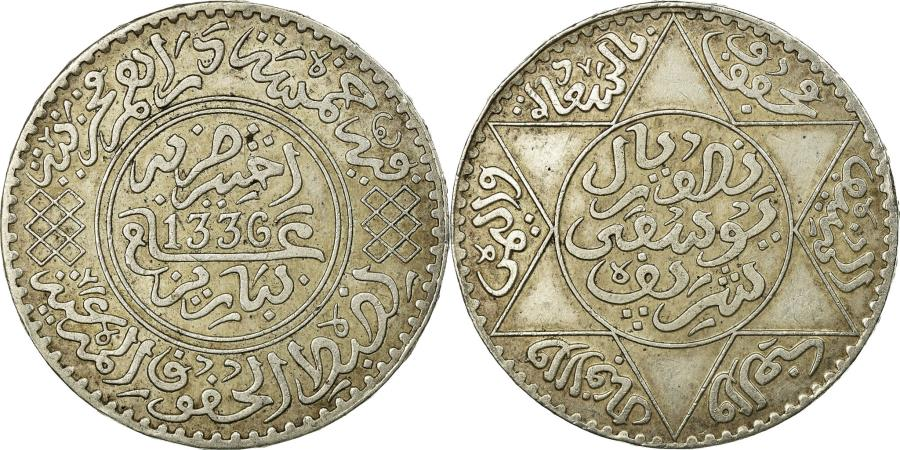 World Coins - Coin, Morocco, Yusuf, 1/2 Rial, 5 Dirhams, 1917, bi-Bariz, Paris,