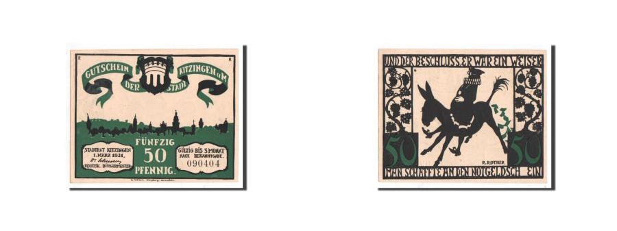 World Coins - Germany, Kitzingen, 50 Pfennig, âne, 1921-03-01, UNC(65-70), Mehl:702.1