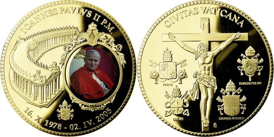 World Coins - Vatican, Medal, Pape Jean Paul II, 2005, , Copper Gilt
