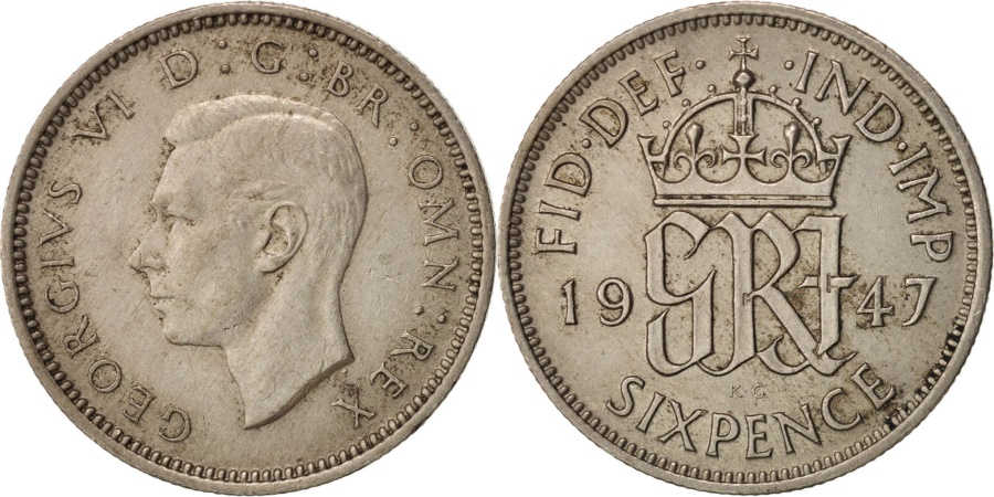 World Coins - Great Britain, George VI, 6 Pence, 1947, , Copper-nickel, KM:862