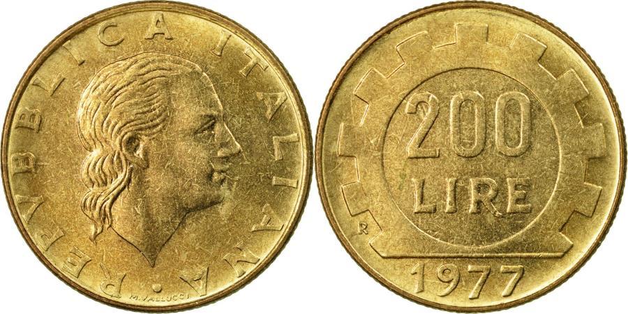 World Coins - Coin, Italy, 200 Lire, 1977, Rome, , Aluminum-Bronze, KM:105