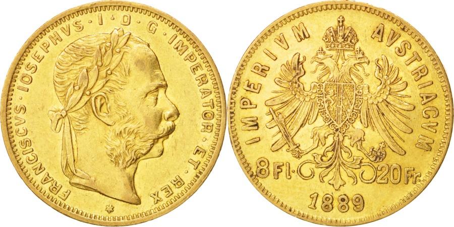 World Coins - Austria, Franz Joseph I, 8 Florins-20 Francs, 1889, , Gold, KM:2269