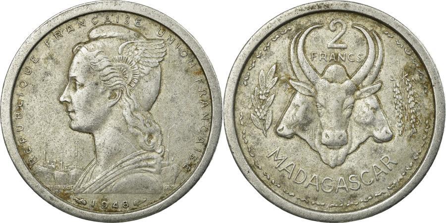 World Coins - Coin, Madagascar, 2 Francs, 1948, Paris, , Aluminum, KM:4