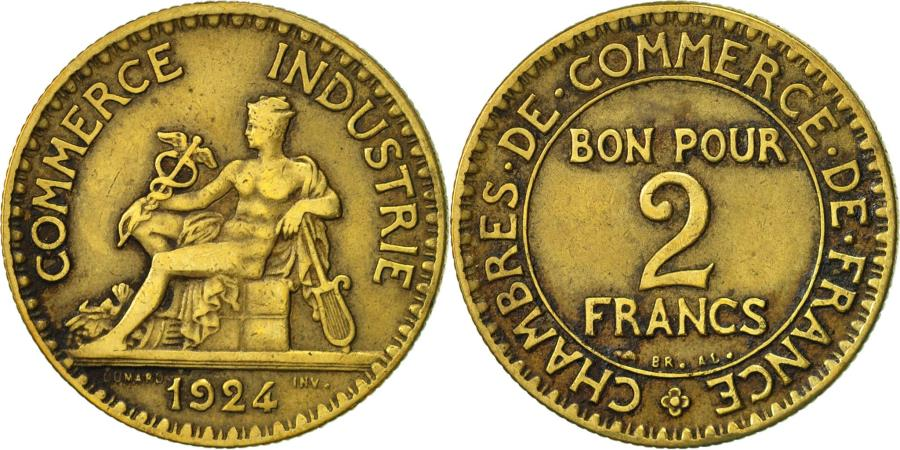 France chambre de commerce 2 francs 1924 paris vf 30 for Chambre de commerce polonaise en france
